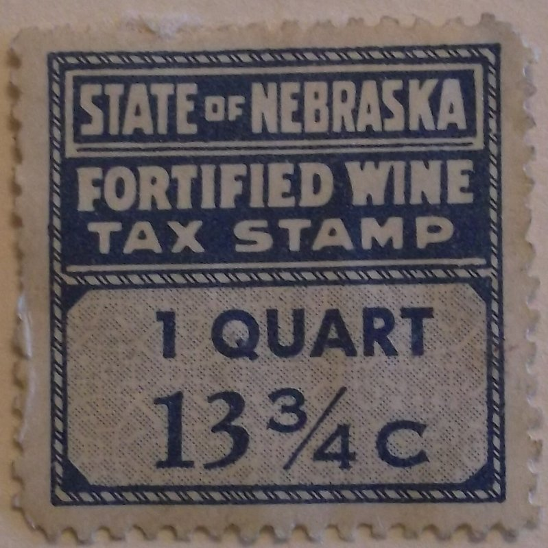 United States State Revenue Nebraska Fortified Wine Tax 1 Quart Used