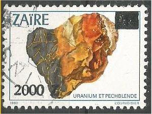 ZAIRE, 1991, used 2000z on 1z   Minerals, Uraninite, Scott 1346