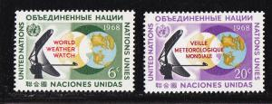 UN - NY # 188-189, World Weather Watch, Mint NH, 1/2 Cat.