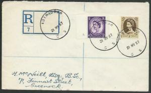 GB SCOTLAND 1957 Registered cover EDINBURGH / CS skeleton cds..............55989