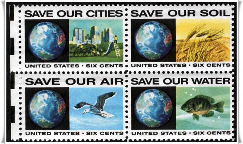 SC#1410-13 6¢ Anti-Pollution Block of Four MNH