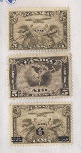 3x Canada Air Mail Mint Stamps #C1-Fine C2-Fine C3-Fine    Guide Value = $44.00