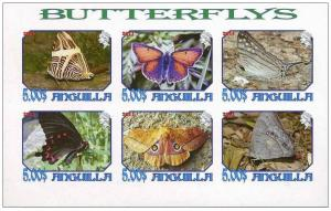 ANGUILLA SHEET IMPERF CINDERELLA BUTTERFLIES INSECTS
