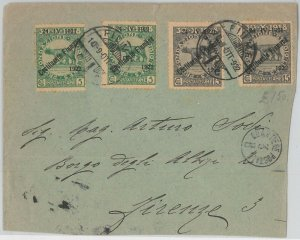 55596 -  ITALIA: FIUME - STORIA POSTALE :  Sassone 179*2 + 181*2 su BUSTA 1922