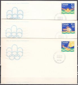 Canada, Scott cat. B4-B6. Montreal Olympics issue. 3 First day covers. ^
