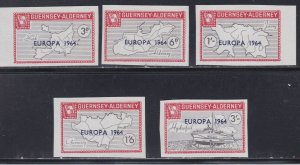 Guernsey -Alderney, Local Issues -Imperf, Europs 1964 Overprints, NH