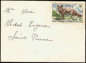 1900's ST PIERRE & MIQUELON SINGLE FOX ON SMALL ENVELOPE ...