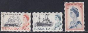 Tristan Da Cunha # 113-115, Ships & Queen Elizabeth II, NH 1/2 Cat.