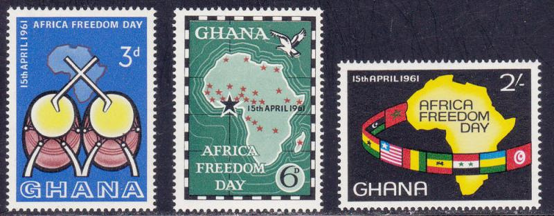Ghana # 92-94, Africa Freedom Day, Mint NH, 1/4 Cat.