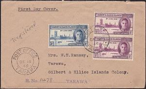 GILBERT & ELLICE IS 1946 Victory FDC - Registered ex Tarawa................4716