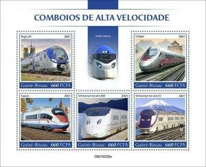 2021/07 - GUINEA BISSAU - SPEED TRAINS     5V  complet set    MNH ** T