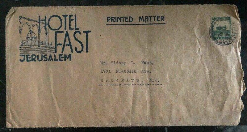 1933 Jerusalem Palestine Hotel Fast cover To Brooklyn NY USA Printed Matter