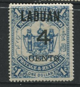 Labuan - Scott 95 - Overprint - 1899 - MVLH - 4c on a $1.00c Stamp