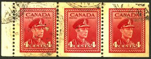 CANADA #254 USED STRIP OF 3