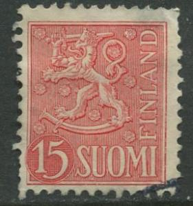 Finland - Scott 317 - Arms of Finland -1954- FU - Single 15m Stamp
