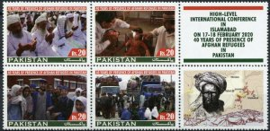 Pakistan Stamps 2020 MNH Presence of Afghan Refugees 40 Years 4v Block A + Label