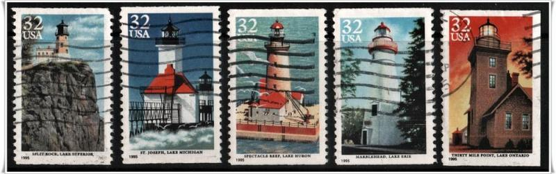SC#2969-73 32¢ Great Lakes Lighthouses Set of Five (Used)