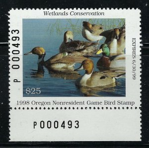 1998 Oregon Game Bird Stamp Non-Resident $25 denomination Mint Never Hinged