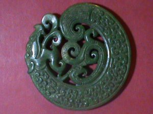 VERY OLD GREEN JADE PENDENT DOUBLE SIDE HAND CRAFT DRAGONS VERY HARD TO FIND