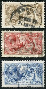 SG406/12 DLR Seahorses Set of Three (5/- bottom right perf added) Cat 1500 pound