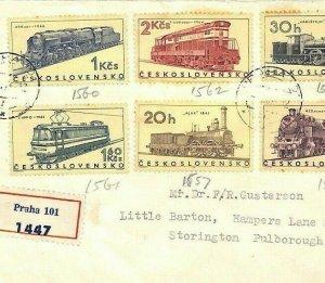 Czechoslovakia Cover LOCOMOTIVES Set{6} 1966 Air Mail RAILWAY {samwells}BU117
