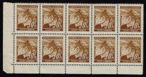 German Empire BÖHMEN UND MÄREN - ČECHY A MORAVA STAMP MNH/OG BLK OF 10