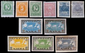 Estonia Scott 28-34, 34a, 35-37 (1919-20) Mint H F-VF Complete Set, CV $23.80