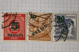 Germany Berlin overprint surcharged 9N64 65 66 used postally green ink