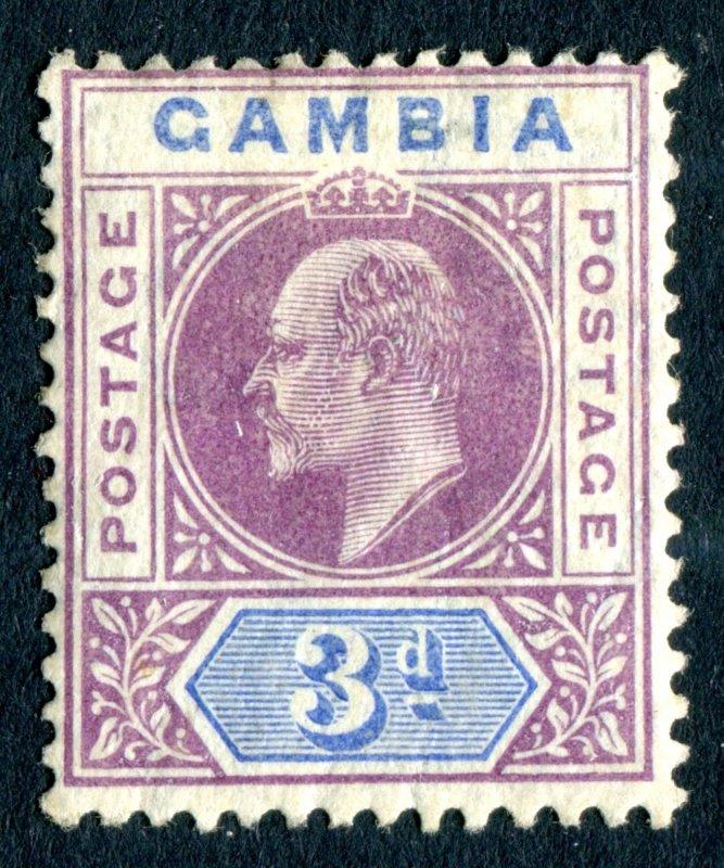 Gambia 1904 KEVII. 3d purple & ultramarine. MC CA. Mint. LH. SG61.