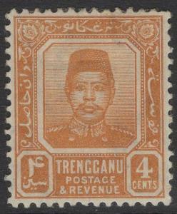 MALAYA TRENGGANU SG4 1910 4c ORANGE MTD MINT