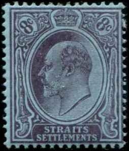 Straits Settlements SC# 108 Edward VII 8c wmk 2 Mint Hinged