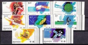 J27287 1981 rwanda set mnh #1043-50 space