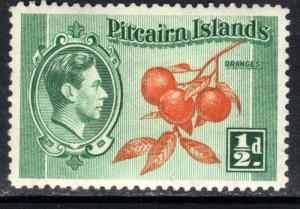Pitcairn Islands 1940 - 51 KGV1 1/2d Cluster of Oranges SG 1 ( B224 )