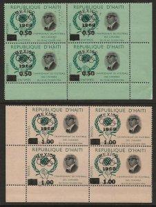 Haiti 1968 Mexico Surcharge MISSING '1968' Variey Error Blocks #578-79 VF-NH