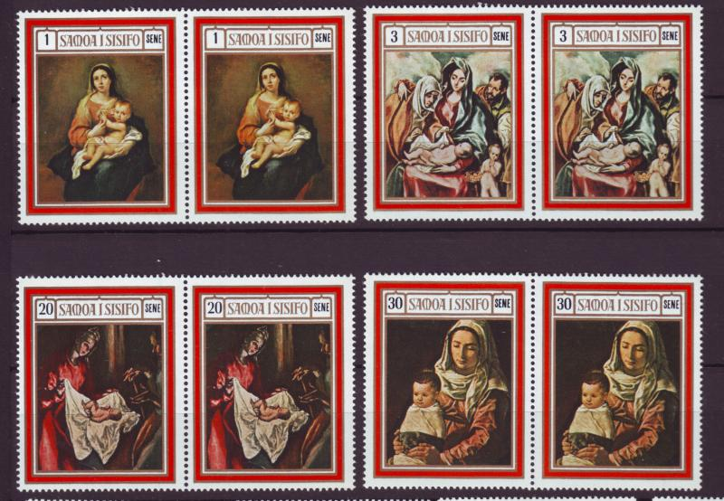 J19626 Jlstamps 1969 samoa set pairs mnh #317-20 christmas paintings