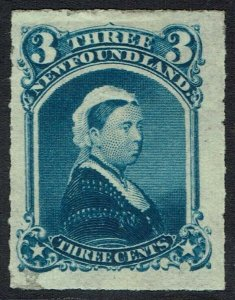 NEWFOUNDLAND 1876 QV 3C ROULETTED