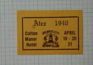 1940 Atex NJ Stamp Club Philatelic Souvenir Label Ad