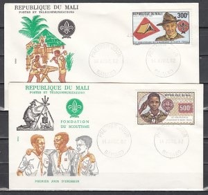 Mali, Scott cat. C462-C463. Scouting Year with Baden Powell. First day covers. ^