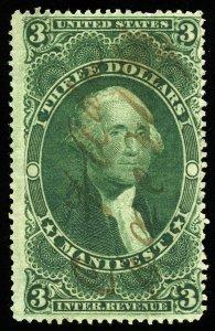 B344 U.S. Revenue Scott R86c $3 Manifest, manuscript cancel, SCV = $55