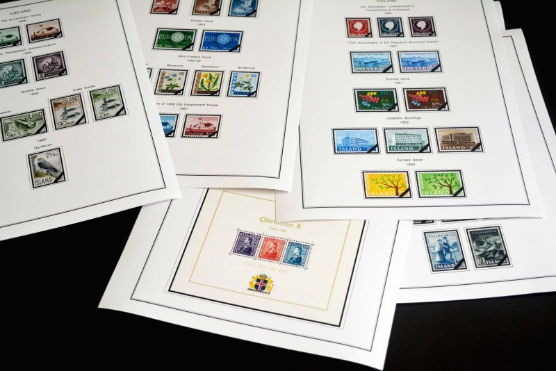 COLOR PRINTED ICELAND 1873-2010 STAMP ALBUM PAGES (153 illustrated pages)