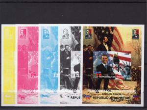 Chad 2008 Personalities of the World  Barack Obama Color Proofs (5) MNH VF