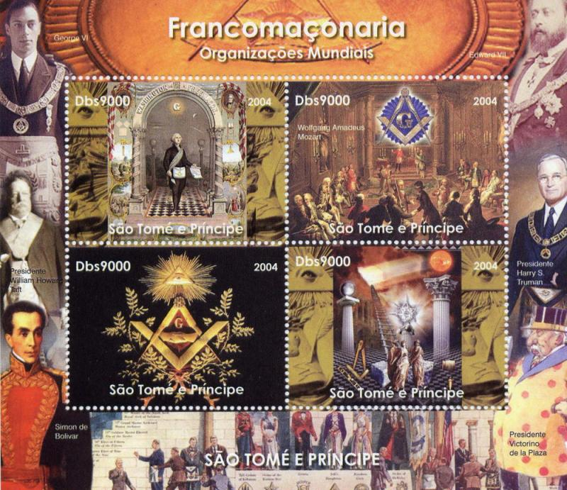 St.Thomas and  Prince Islands  2004 Freemasonry Sheetlet (4) Perforated MNH VF