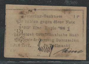 GERMAN EAST AFRICA (P2903B) 11917 1R BANKNOTE SIGNED