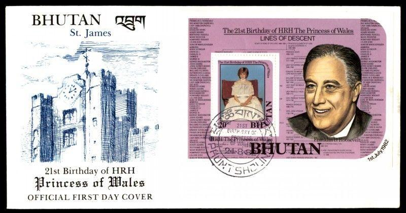 Princess Of Waled Bhutan First Day Cover Hrhr With Cachet