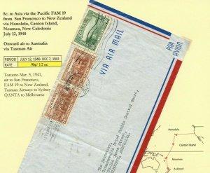 FAM 19 via CANTON Isld AUSTRALIA TRANS-PACIFIC 90c 1/2 oz. Airmail cover Canada