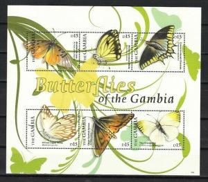 Gambia,  Butterflies of Gambia sheet of 6.