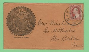 $US Sc#11a XF stamp on Hartford CT. insurance cachet cover Dec. 31
