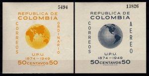 Colombia 1950 75th Anniversary of U.P.U. Souvenir Sheets [Mint]