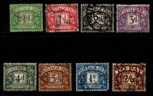 GB SGD27/34 1937-8 POSTAGE DUE SET USED(2/6 DAMAGED)