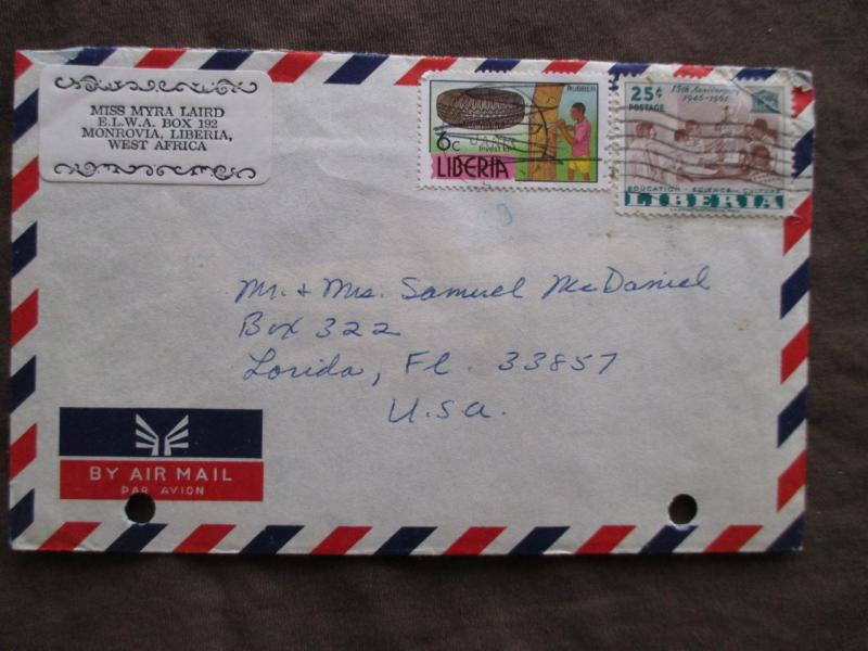 Est 1960s Liberia To USA Airmail Cover (VV159)